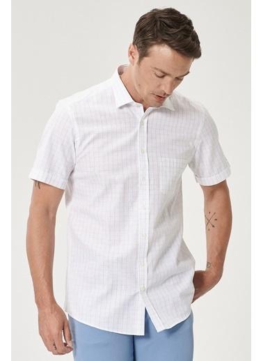 Beymen Business Slim Fit Kareli Gömlek 4B2019200082 Beyaz